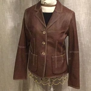 Jacket - CAbi - Leather Brown w/Topstitching - SZ8